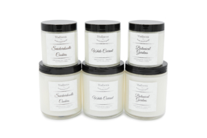 6 candles photographed by a product photographer