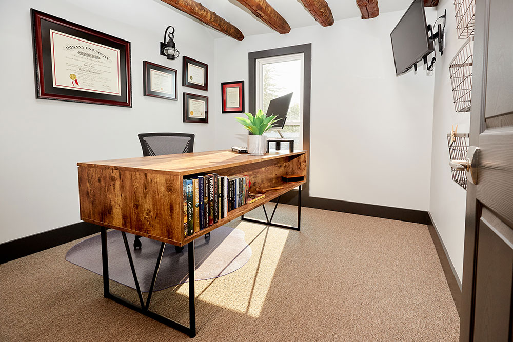 law office with wooden desk commercial photography