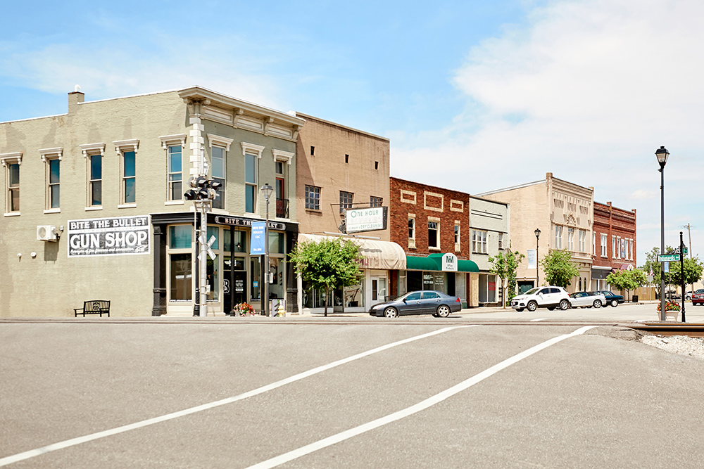 line of buildings for commercial photography