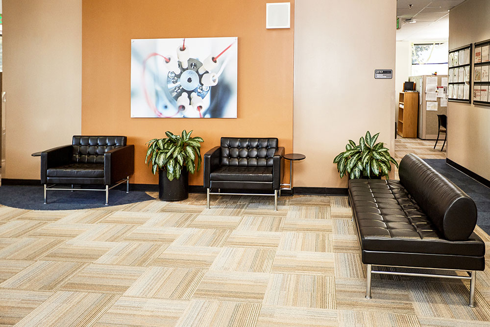 takeda waiting room with leather couches commercial photography